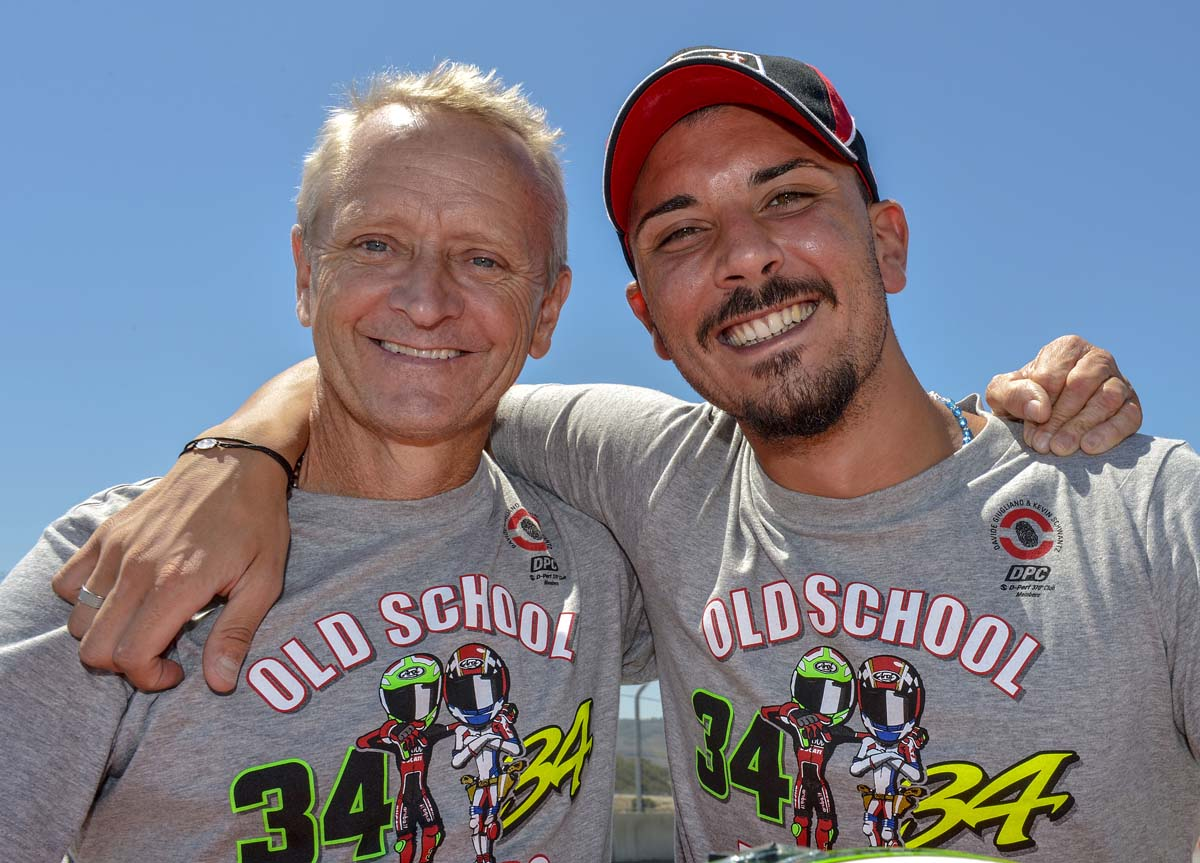 Kevin Schwantz and Ducati's Davide Giugliano. The Italian is a huge Kevin Schwantz fan.