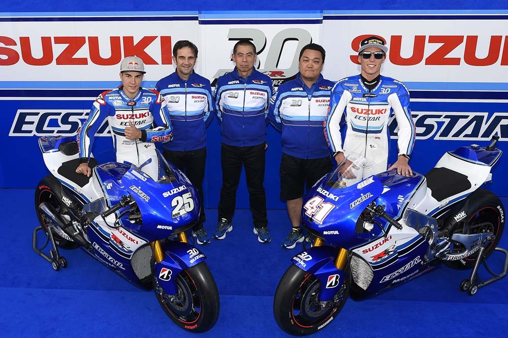 Suzuki celebrates 30 years of the GSX-R750 with a new paint scheme on their MotoGP bikes. If only they had a Superbike team to authenticate this effort. Oh, wait ...