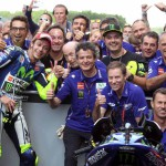 Rossi and crew celebrate a great win after an epic race. Points lead? Still got it.