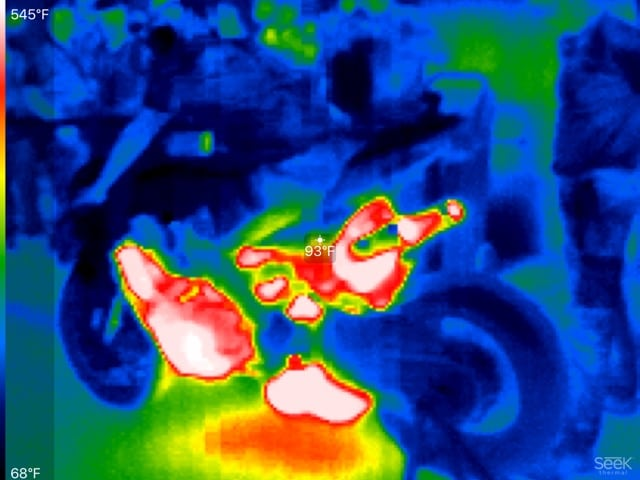 Soup took a thermal camera to the pit lane today in Portugal and pointed it at the Ducati Superbike. In Two minutes the exhaust registered nearly 600 degrees.