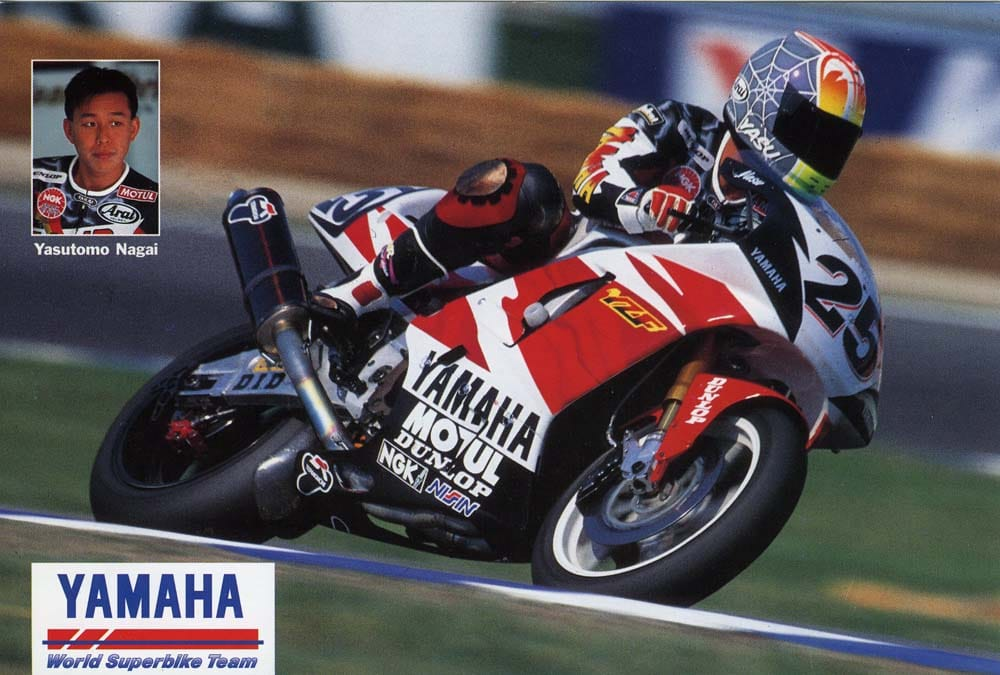 Yasutomo Nagai was a SP Tado rider. Nagai was killed at Assen when he crashed in oil and as he started to get up his Yamaha landed on him.