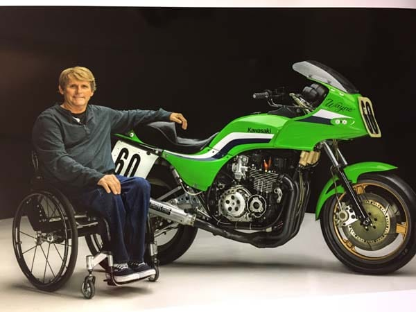 Racing legend Wayne Rainey and his '83 Kawasaki Superbike. Together they won the title, beating the monolith effort of Team Honda.