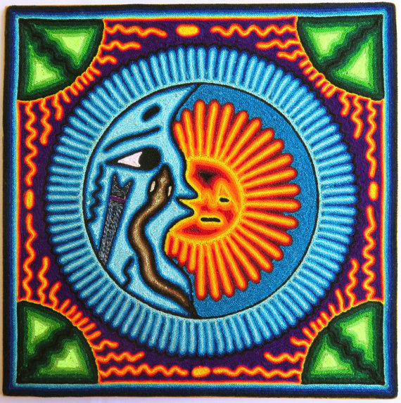 Typical Huichol art via Esty user Aramara.