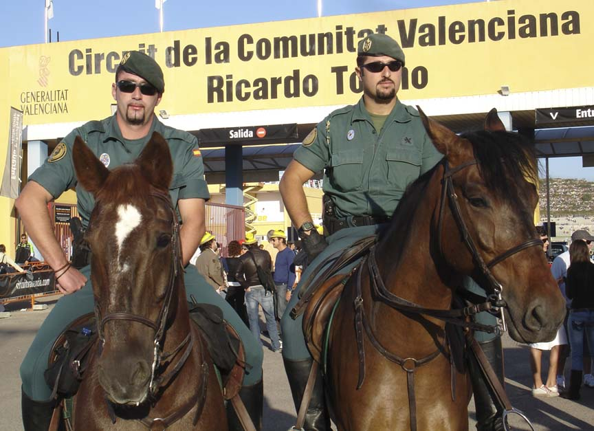 On-track police/military use horses for transportation in Spain.