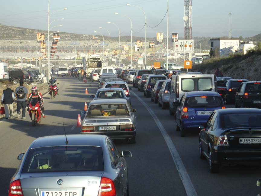 The road leading into Valencia was packed by six in the morning.