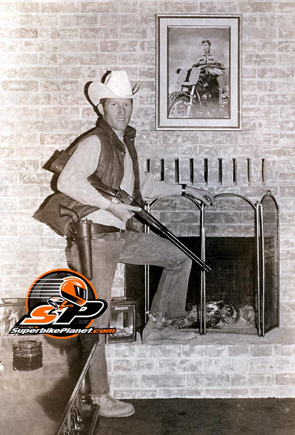 Kenny Roberts at his home/gun range in 1972 before he went to Europe and made a bunch of guys cry.