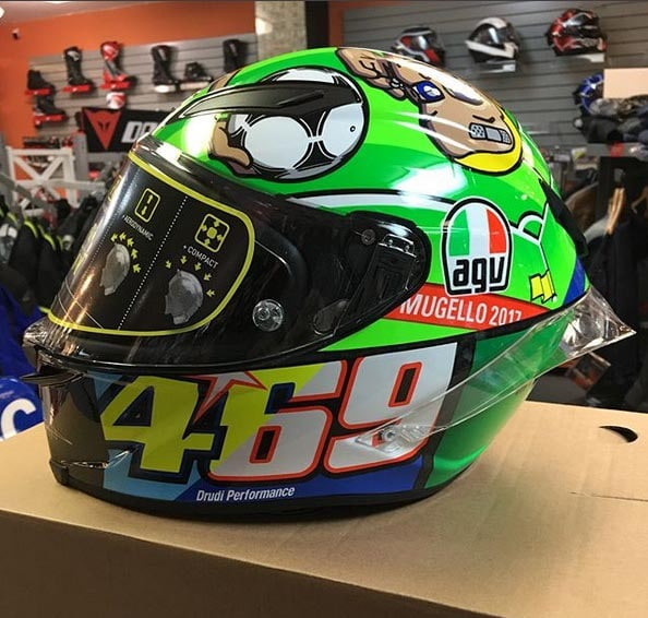 Don't target vomit --the GV Pista GPR Mugello 2017 Valentino Rossi Kentucky Kid Tribute helmet is an officially licensed Nicky Hayden product.