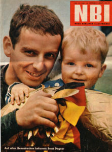 Degner and his son on the cover of the East German magazine NBI just before he defected.