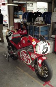 The Lucky Strike Honda in the garage at Suzuka.