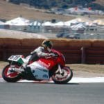 Former world champion Marco Lucchinelli on the Ducati BOTT racer.