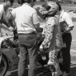 Honda RS250 rider Jimmy Filice with tuner Bruce Maus.