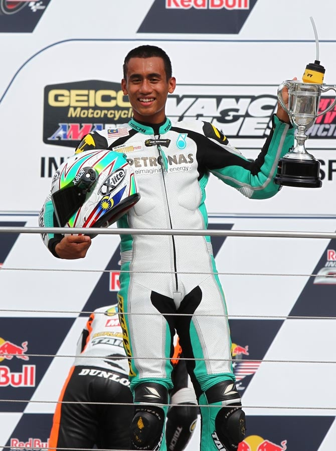 You remember Hafizh Syahrin, right? Tech 3's new MotoGP rider rode an XR1200 at Indy, and won.
