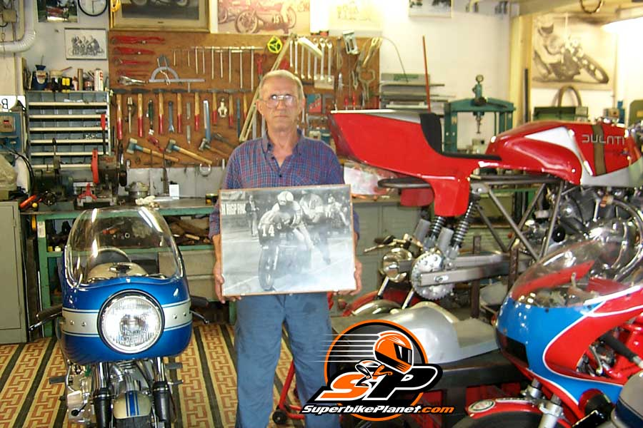 "Rino Caracchi passed away in Italy today. He was the ""R"" of NCR Ducati. Soup visited him in his shop in 1999."