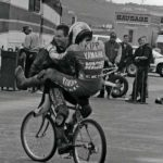 Filed under heading 'Positions Leather-Clad Men Should Not Adopt'. Crevier and Kipp share a bike. Laguna Seca, mid-1990s.