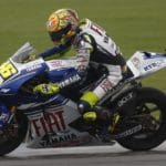 Valentino Rossi holds his line on the Fiat Yamaha MotoGP bike. Rossi was able to chase down early leader Hayden and win the race.