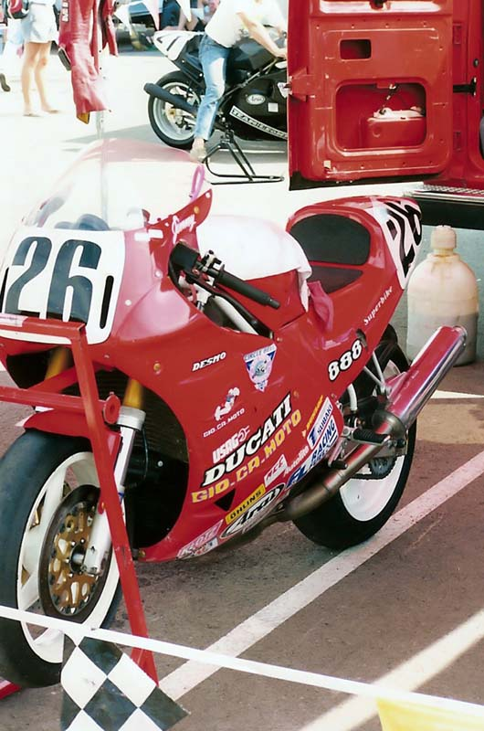More images from the early 1990s Topeka AMA Superbike round. Here, the late Jimmy Adamo's 888 Ducati.