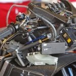 Ducati's electronics spread bare. Note the fine selection of switches one doesn't want to be asleep at on top of the dash.
