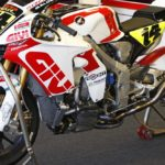 LCR Honda missing front discs; they were not blown off by the hurricane. MotoGP side number plates were slowly disappearing from sight.