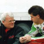 Eraldo Ferracci and Pascal Picotte talk things over. Picotte came back to Laguna Seca the following year and won the Superbike race, repeating the feat that teammate Polen accomplished in 1993.