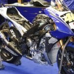 Rossi's Yamaha with the lower fairing removed.