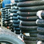 Supersport DOT tires are stacked to sky and waiting to be spooned on and churned into rubber dust.