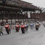 A wet start to the first MotoGP race at Indy. Then Honda-mounted Hayden nailed the start and led, setting the fastest lap of the race. He was unable to hold off Rossi, though.