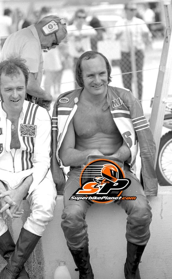 Hailwood at Daytona. Did the AMA really tell him after a riders meeting to put a shirt on? Who knows.