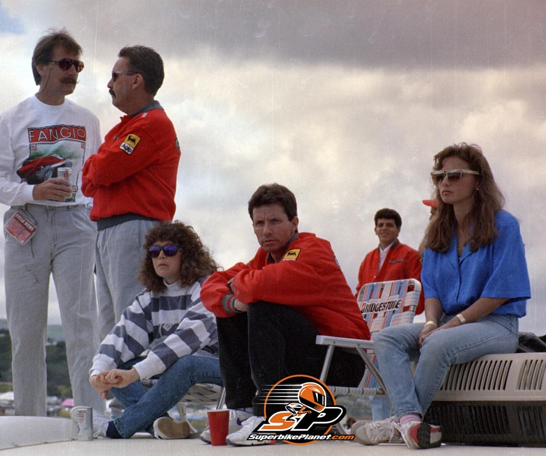 Eddie and family on top of his motorhome at Laguna Seca USGP. Note Barros looks like his younger brother.