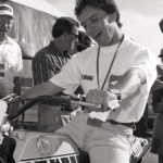 250 world champion Luca Cadalora shats himself by just sitting on the Kenny Roberts TZ750 Miler.