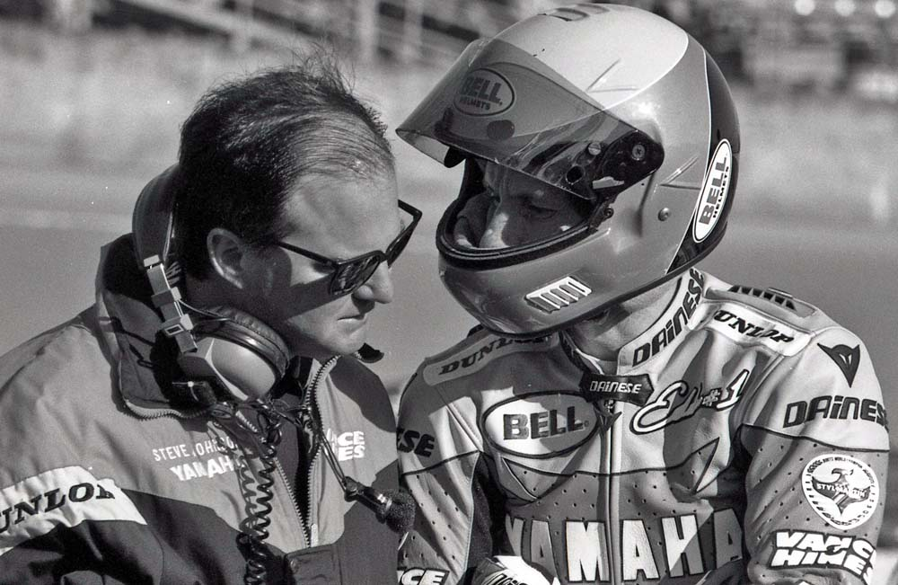 Steve Johnson, Eddie Lawson, Daytona 1993. Probably discussing what a pile that KR250 was. Belt drive!!?