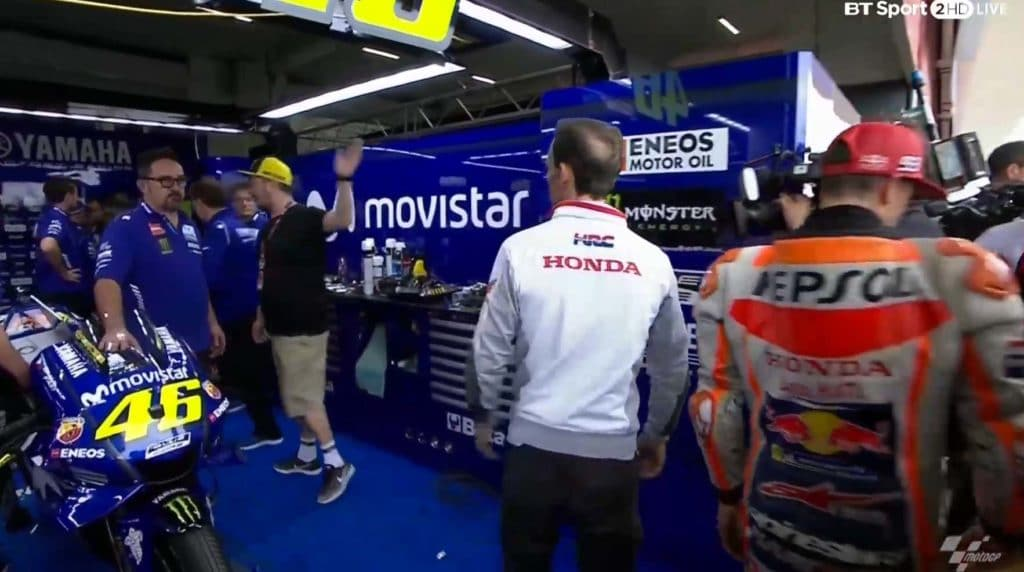 After knocking down Rossi, HRC team manager Alberto Puig and Marc Marquez walked tp the Yamaha garage to apologize. They escaped with their lives.