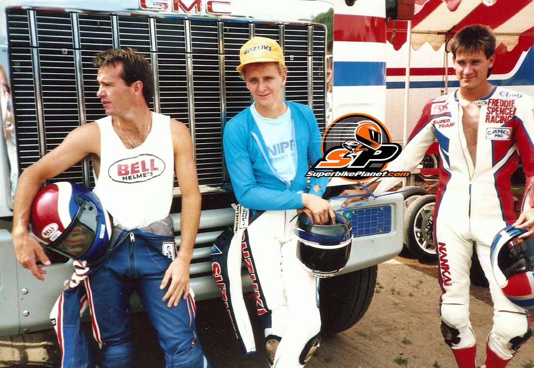 Bubba Shobert, Kevin Schwantz and Doug Chandler at Brainerd in 1987. Waiting by the Honda truck for the race ...