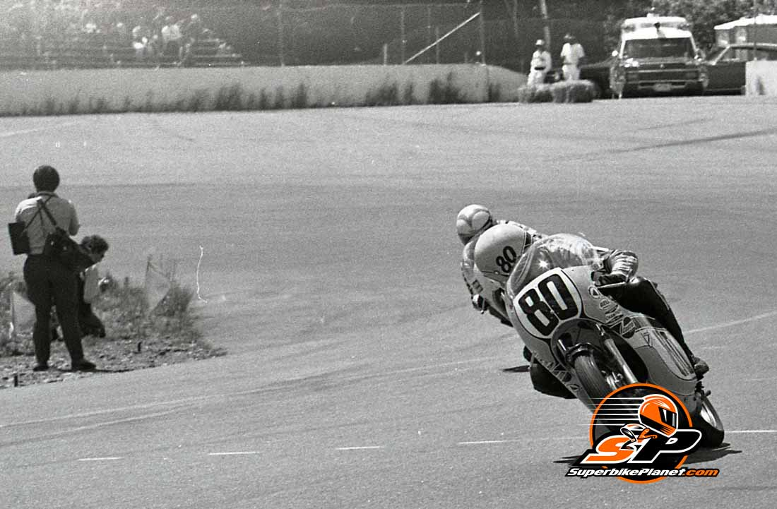 'Where is he?'. King Kenny Roberts looks over his shoulder to see where Gary Nixon is in this 1970s race scene.