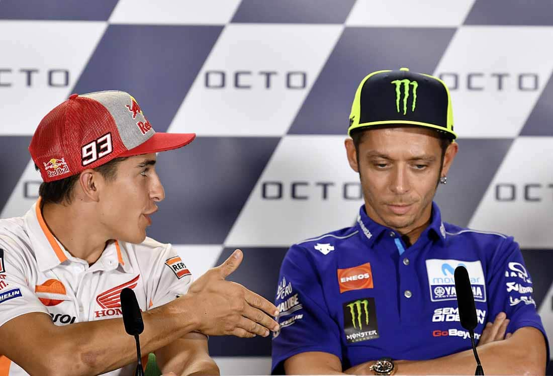 "Rossi's reply: ""We don't need to shake hands. It's ok. We don't have any problems."""
