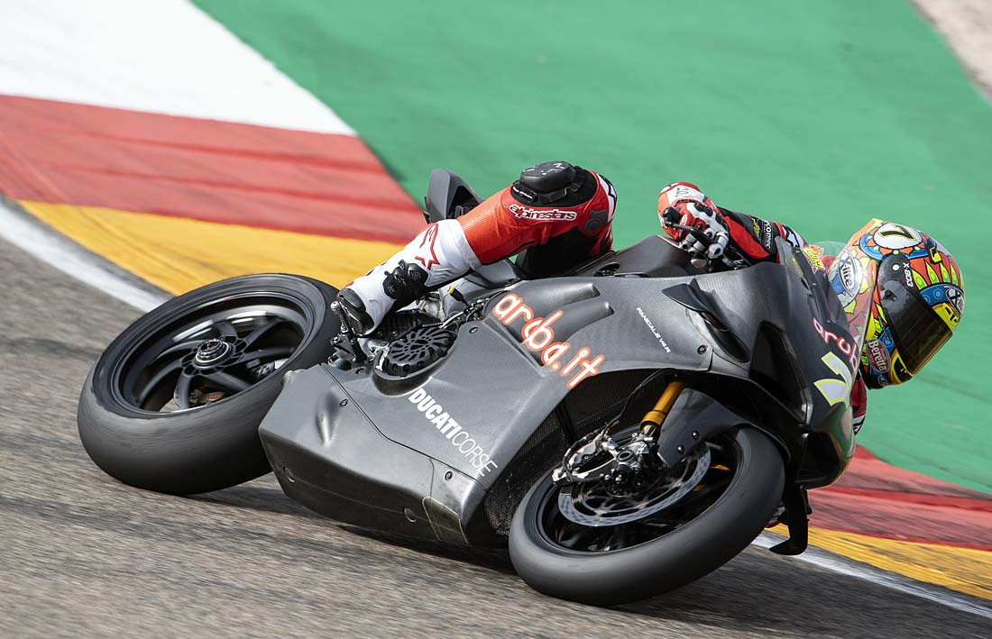 Chaz on the Ducati V4 today in spain. Pole time for the last race was 1:40.705