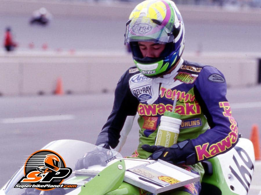 Back in Phoenix. Above--Tommy Hayden at PIR in 1997. Muzzy Kawasaki.