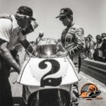 Kenny and Kel on the grid, Laguna Seca, 1984