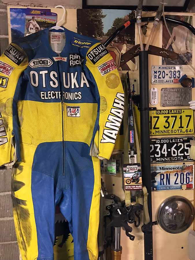 Future world champion Kenny Roberts Junior's leathers when he rode for Wayne Rainey Racing's 250 AMA team. $3500 and they are yours.
