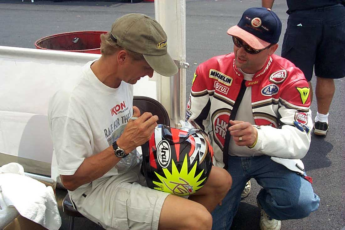 Schwantz--a revered world champion in Europe, at Mid-Ohio he was just another guy they threw in the squad car for having the audacity to ride a scooter.