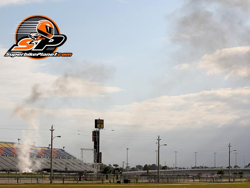 Smoke rises above the Speedway as a beautiful 2008 Yamaha Superbike burns to the ground.
