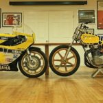 Two very different machines Roberts used in his racing career sit nose to nose in his private museum. Roberts himself made the frame on the dirt tracker.