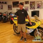 250 ace Rich Oliver poses with Roberts' TZ700 Daytona racer.