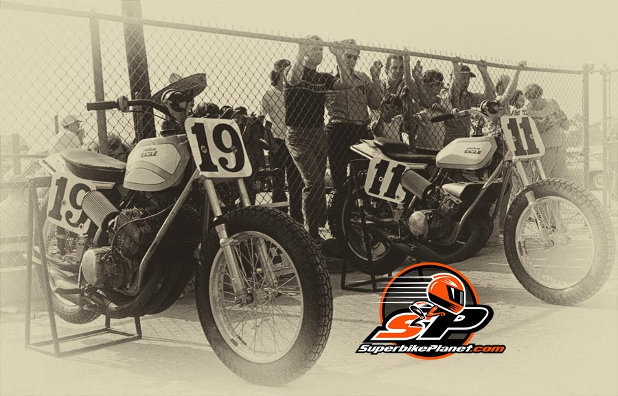 """Kanemoto's """"wide frame"""" Kawasakis on display. In some ways Kanemoto's bikes sounded better than the TZ750 powered Yamahas which came later."""