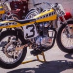 "Gene Romero's Yamaha at the Golden Gate Fields Mile 1974. His # 3 is distinctive and remains instantly identifiable as ""Romero""."