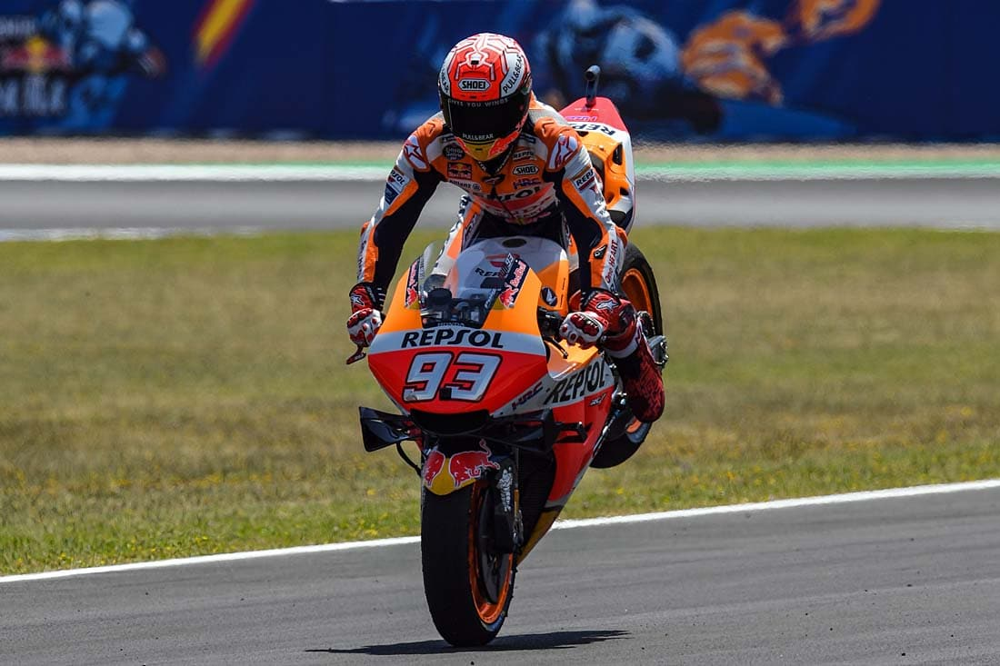 Marc Marquez bounces the rear just to make sure his stoppie skills survived Austin.