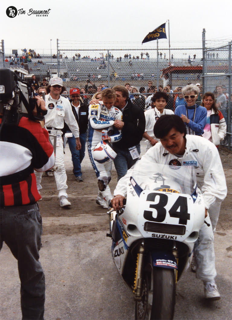 Victory at last. Schwantz is in ecstasies as he walks into victory circle at Daytona in 1988.