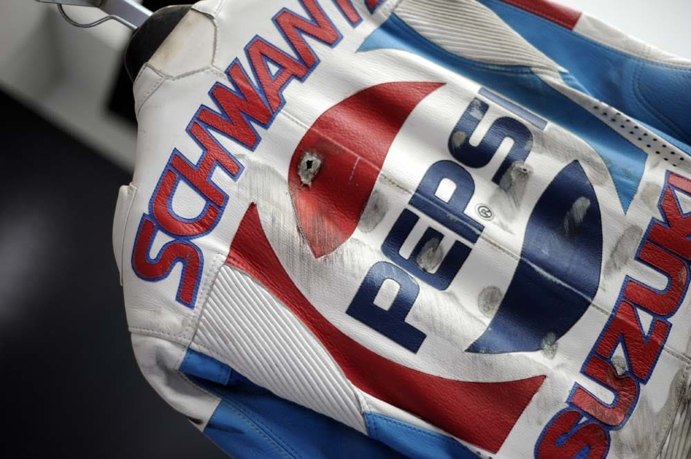 Schwantz's very iconic Pepsi Suzuki leathers. It was in this period that Schwantz was the favorite rider of an Italian boy. He had posters hanging in his room and watched the Japanese grand Prix VHS tape so often he wore it out. Fan boy's name? Valentino Rossi.