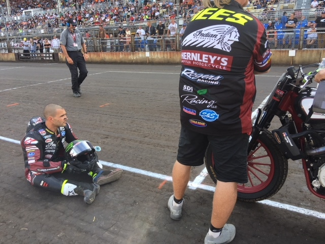 Jared Mees pre-race prep consisted of sitting on the ground and waiting to win.