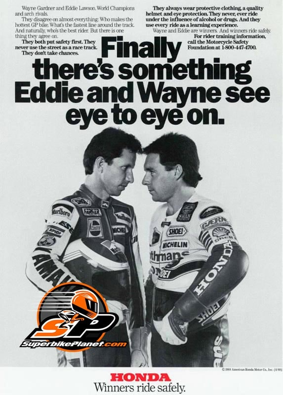 An ad campaign featuring two bitter rivals staring each other down. What could go awry? Eddie Lawson and Wayne Gardner and the infamous 1988 ad. The video portion of the ad was shot at Laguna Seca USGP in April of 1988.