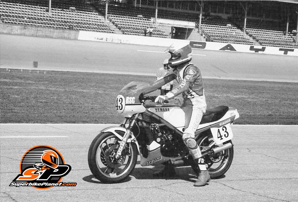 Kevin Schwantz grew up Yamaha. His parents co-owned a Yamaha dealership in Texas and he raced just about every 1980s Yamaha sport bike made. Here he is on the grid at Daytona in 1984 on his RZ350. He won the RZ350 Cup that season.